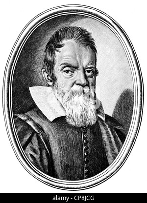 portrait of Galileo Galilei, 1564 - 1642, an Italian philosopher, mathematician, physicist and astronomer, Historische - Stock Photo