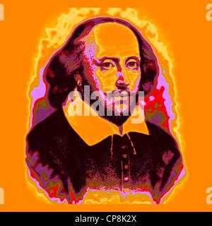 William Shakespeare, 1564 - 1616, an English playwright, poet and actor, Historischer Kupferstich, Portrait von - Stock Photo