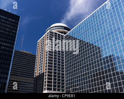Downtown Ottawa towers. C. D. Howe Building and Marriott Hotel under blue sky. Ontario, Canada. - Stock Photo