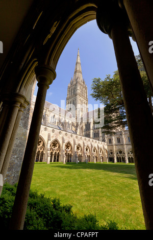 Considered by some to be the most beautiful building in England, Salisbury Cathedral, seen through an arch in the - Stock Photo