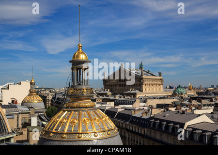 View of Paris from roof of Printemps Department Store, France - Stock Photo