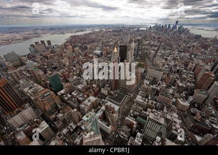 Downtown Manhattan viewed from top of the Empire State building. New York, USA. - Stock Photo