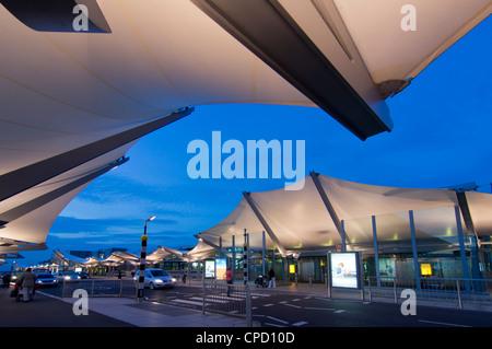 Heathrow Airport Terminal 5 at dusk, London, England, United Kingdom, Europe - Stock Photo