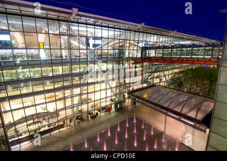 Heathrow Airport Terminal 5 building at dusk, London, England, United Kingdom, Europe - Stock Photo