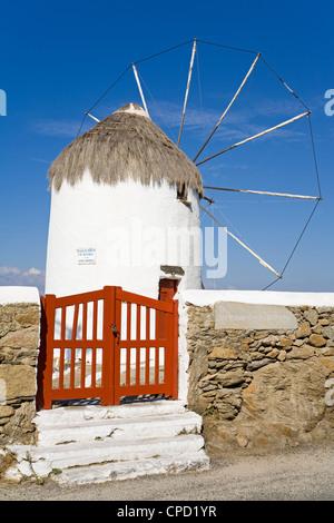 Bonis Windmill at the Folklore Museum in Mykonos Town, Island of Mykonos, Cyclades, Greek Islands, Greece, Europe - Stock Photo