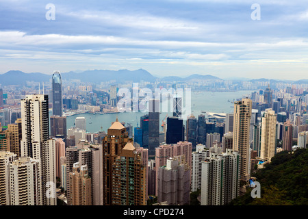Hong Kong cityscape viewed from Victoria Peak, Hong Kong, China, Asia - Stock Photo