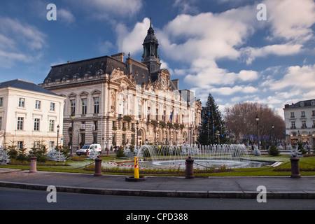 Hotel de Ville (town hall) and place Jean Jaures, Tours, Indre et Loire, France, Europe - Stock Photo