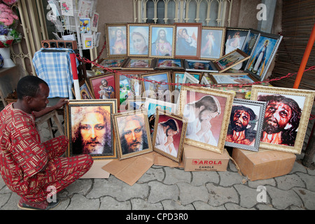 Religious shop, Cotonou, Benin, West Africa, Africa - Stock Photo