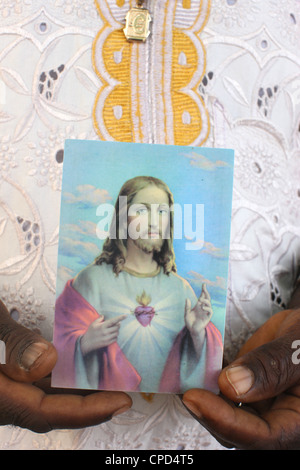 Religious image of Christ, Lome, Togo, West Africa, Africa - Stock Photo