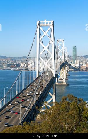 Oakland Bay Bridge and city skyline, San Francisco, California, United States of America, North America - Stock Photo