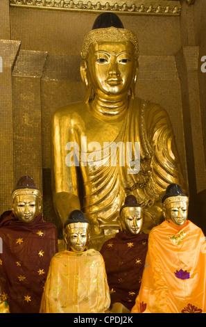 Statues of the Buddha, Shwedagon Pagoda, Yangon (Rangoon), Myanmar (Burma), Asia - Stock Photo