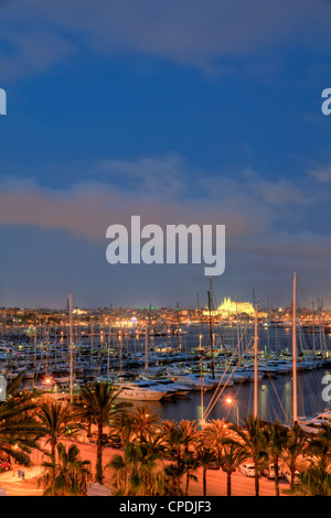 Spain, Balearic Islands, Mallorca, Palma de Mallorca, view of Harbour and Old Town - Stock Photo