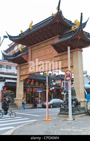 Traditional style Chinese gate on Shanghai Old Street, a restored traditional neighbourhood, Nanshi, Shanghai, China, - Stock Photo