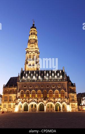 Gothic Town Hall (Hotel de Ville) and Belfry tower, Petite Place (Place des Heros), Arras, Nord-Pas de Calais, France, - Stock Photo