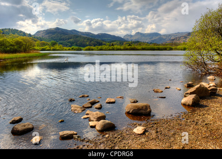 Elterwater is a small lake that lies half a mile (800 m) south-east of the village of the same name Valley of  Great - Stockfoto