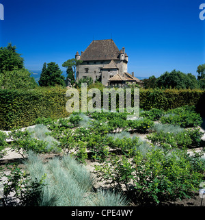 Yvoire lake geneva stock photo royalty free image for Jardin 5 sens guadeloupe