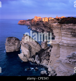 The Falaise and Haute Ville at dawn, Bonifacio, South Corsica, Corsica, France, Mediterranean, Europe - Stock Photo