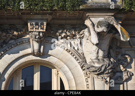 One of the four Atlantes on the hotel de ville (town hall), Tours, France, Europe - Stock Photo