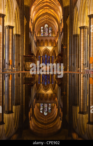 Looking across the font and down the nave of Salisbury Cathedral, Wiltshire, England, United Kingdom, Europe - Stock Photo