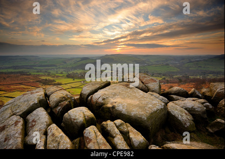 Sunset over Baslow, Curbar Edge, Peak District National Park, Derbyshire, England, United Kingdom, Europe - Stock Photo
