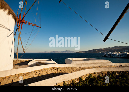 One of the five historic windmills at Mykonos - Stock Photo