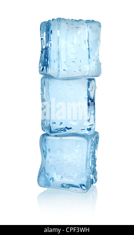 Ice cubes isolated on a white background. Clipping path - Stock Photo