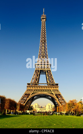 View at Eiffel Tower from the Champs de Mars (Field of Mars) - Stock Photo