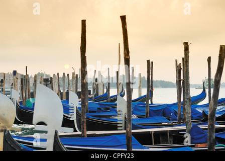 gondolas in Venice, Italy, European city - Stock Photo