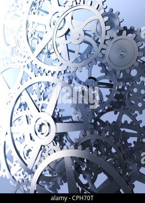 Cog and gear wheels - industrial background image - Stock Photo