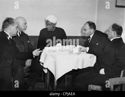 Arnold Sommerfeld, L. Scherman, Chandrasekhara Venkata Raman, Walter Straub and Hans Fischer, 1931 - Stock Photo