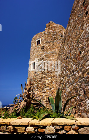 The 'Crispi tower' (also known as 'Glezos tower') in the castle of Sanoudos, Chora of Naxos, Naxos island, Cyclades, - Stock Photo