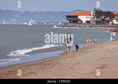 A man running on the beach with a dog - Stock Photo