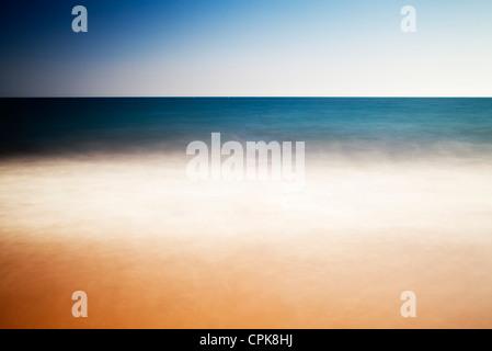 Seascape, Spain. Long exposure shot. - Stock Photo