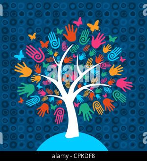 Diversity tree hands illustration background. Vector file layered for easy manipulation and custom coloring. - Stock Photo