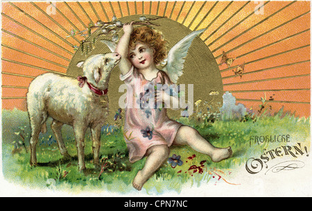 Easter, Easter card, Happy Easter, angel with lamb, lithograph, postcard, Germany, 1906, Happy Easter, little angel, - Stock Photo