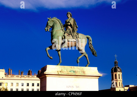 In the centre of Place Bellecour(Lyon,France) stands an equestrian statue of King Louis XIV, to the afternoon - Stock Photo