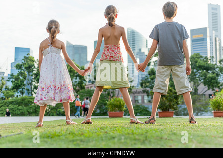 Young siblings standing on grass holding hands, rear view - Stock Photo