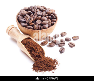 ground coffee and coffee beans isolated on white background - Stock Photo