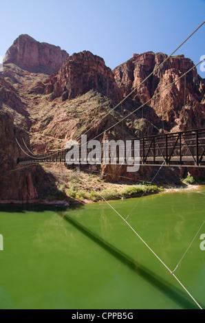 kaibab suspension bridge, colorado river in grand canyon