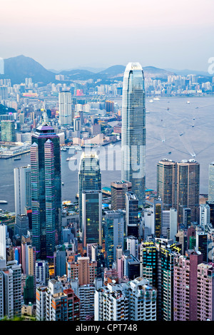 Beautiful Hong Kong Harbour from The Peak, - Stock Photo