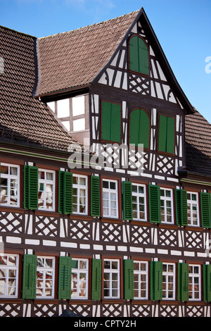 Timber-framed Guesthouse Sonne in Schiltach in the Bavarian Alps, Germany - Stock Photo
