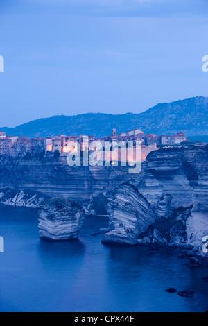 Bonifacio at dawn, Corsica, France - Stock Photo