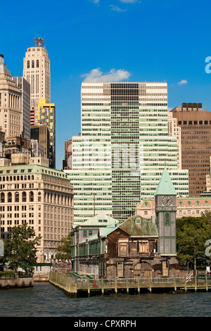 United States, New York City, Lower Manhattan, Battery Park, Pier A, belfry - Stock Photo