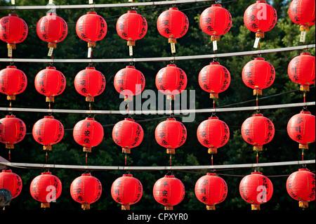 Taiwan, Kaohsiung, Lotus Pond, Enlightenment Temple, lanterns - Stock Photo