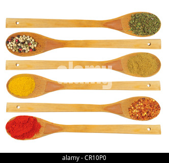Various colorful dried spices in wooden spoons - parsley, pepper, cardamon, curry, chilli, paprika - Stock Photo
