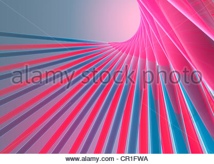 Abstract digitally generated pink and blue lines forming fan shape - Stock Photo