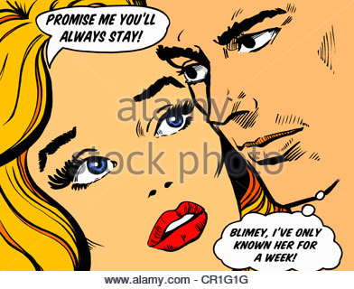 Close-up of couple's faces talking in speech bubbles about commitment - Stock Photo