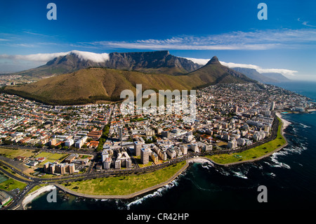 Table Mountain, aerial view, overlooking Cape Town, Western Cape, South Africa, Africa - Stock Photo