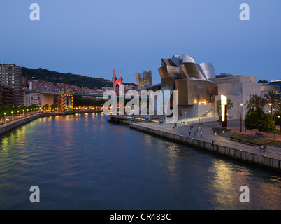 Guggenheim Museum by architect Frank O. Gehry, Bilbao, Biscay Province, Basque Country, North Spain, Europe - Stock Photo