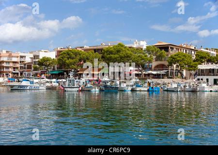Harbour scene, boats, Cala Ratjada, Majorca, Balearic islands, Spain, Mediterranean Sea, Europe - Stock Photo